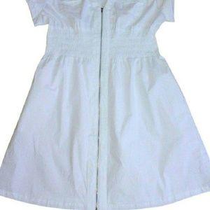 Crisp White Front Zipper Shirt Dress